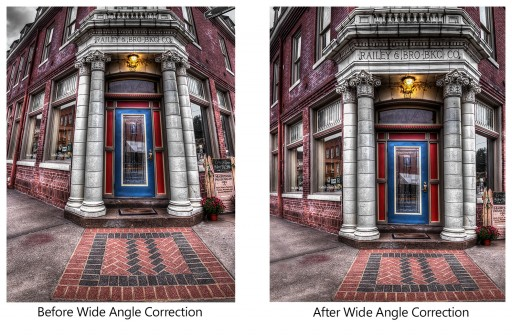 http://everydayhdr.com/how-to-fix-extreme-wide-angle-shots/