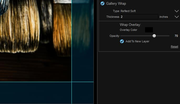 Screenshot of ON1 Resize adding a gallery wrap border to a photo.
