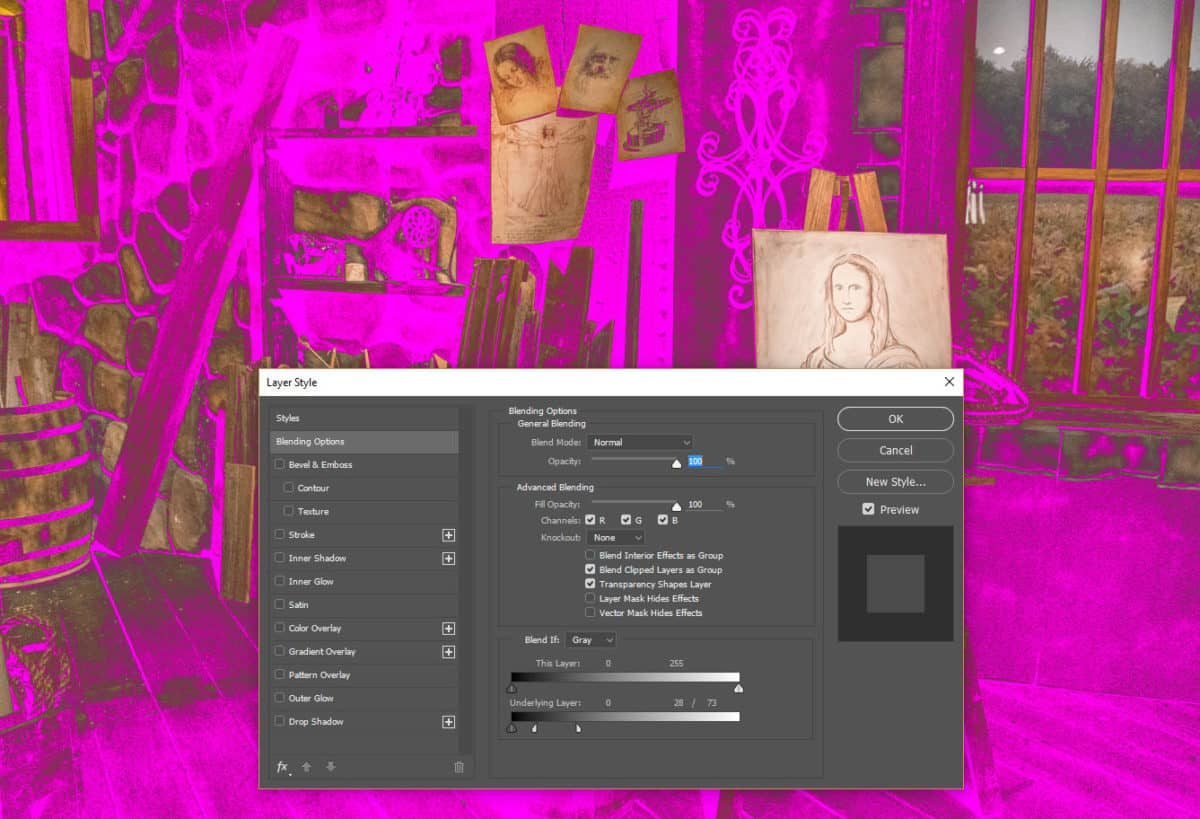 Blend If Noise Reduction Exampe