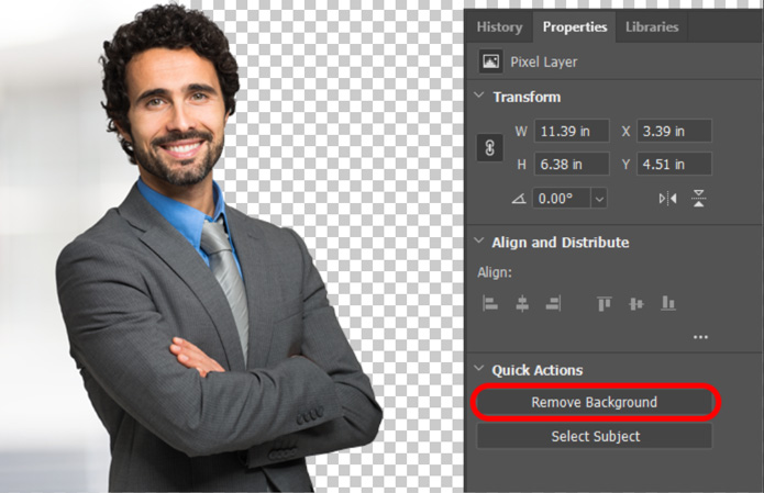 remove background in Photoshop CC 2020