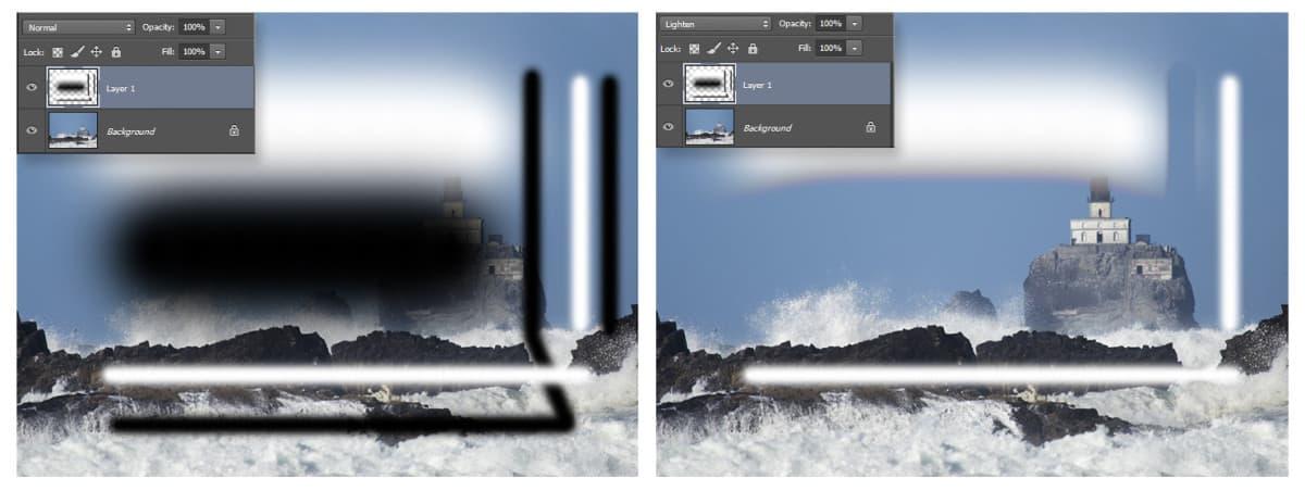 Lighten Blend Mode Example
